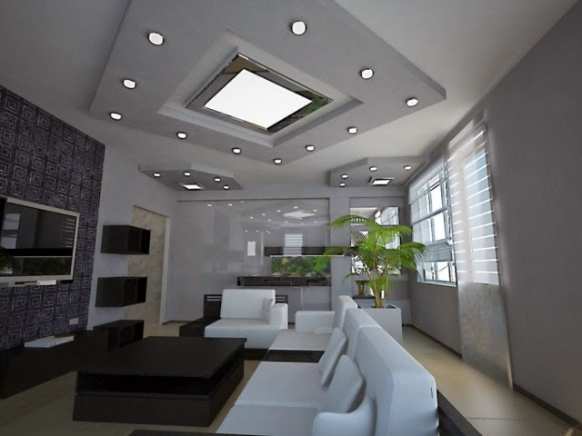 Stunning false ceiling led lights and wall lighting for Living room ceiling lighting ideas