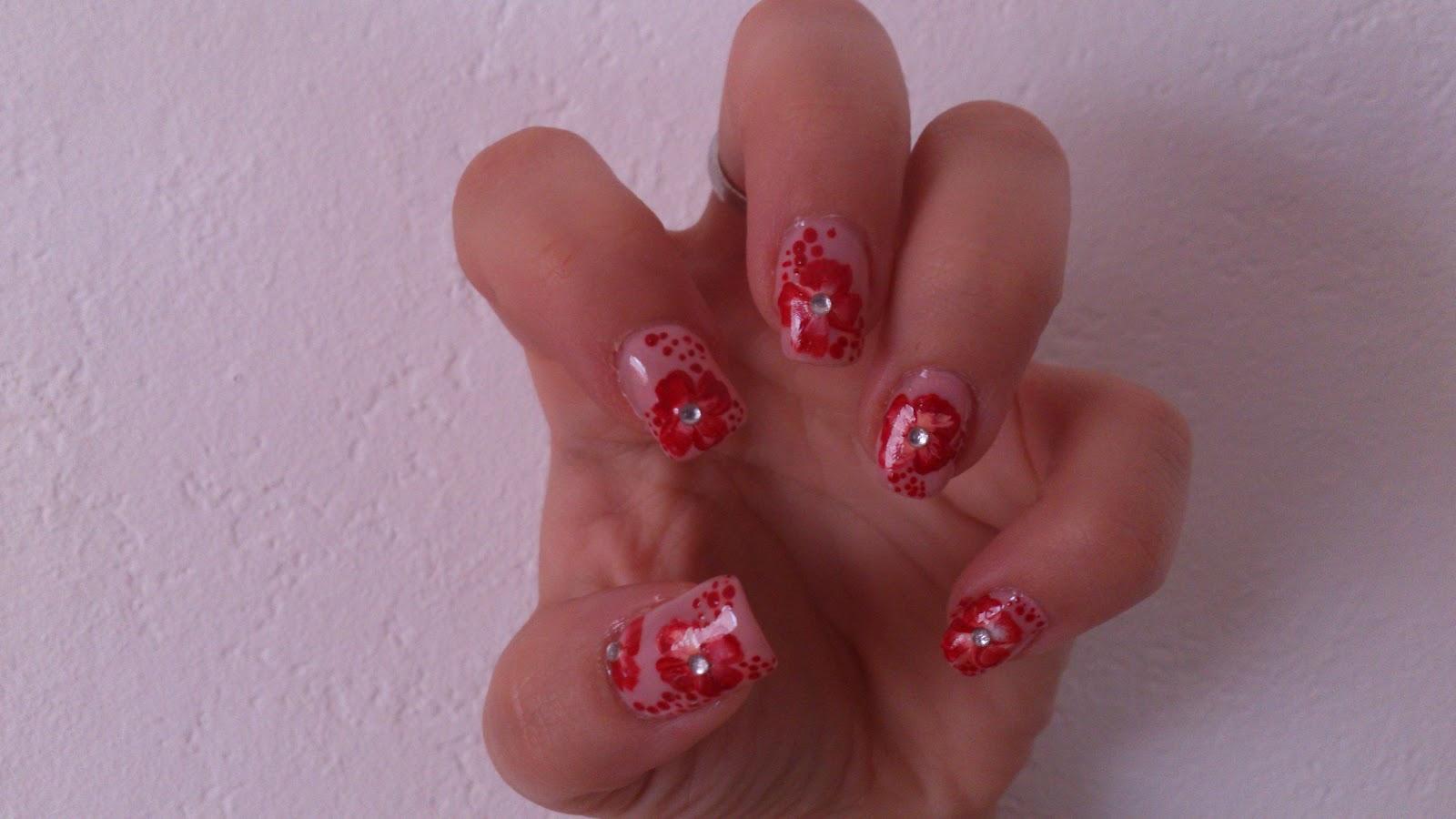 Anspruchsvoll Nageldesign Rot Das Beste Von Neues Nageldesign!!!! Blüten In Rot!