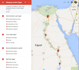 A google maps screen that is focused on Egypt, with red pinpoints at along the Nile River. On the left is a listing of locations, including the Giza Pyramids and Lower Upper Egypt.