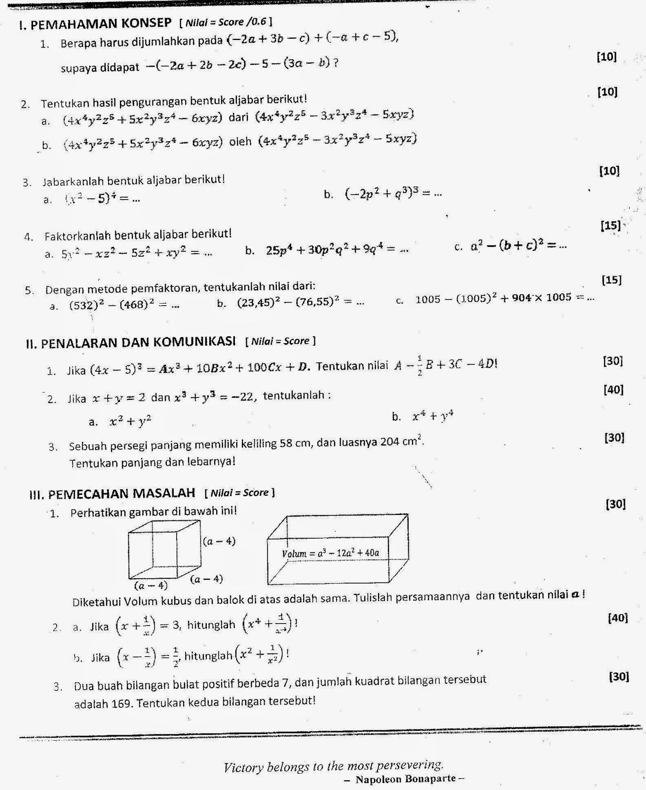 Starbung Soal Prediksi Kelas 8 Matematika
