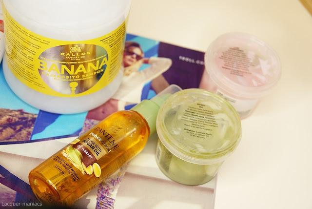 Moja aktualna pielęgnacja włosow (szampon Kallos Banana, eliksir Pantene, maski do włosów Davines Nounou i Love Curl)