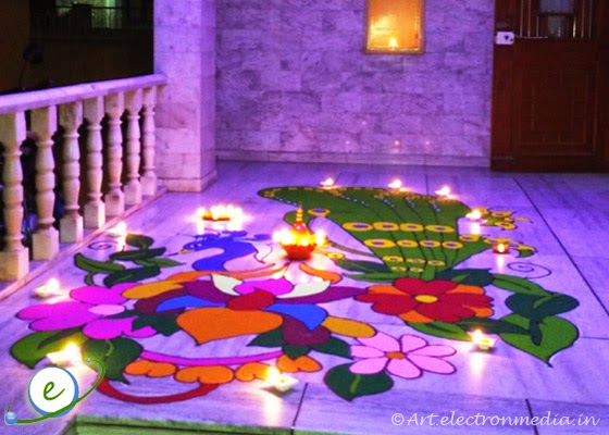 Peacock Rangoli for Diwali - Diwali Rangoli