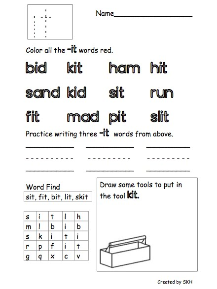 En Word Family Worksheet Worksheets for all | Download and Share ...