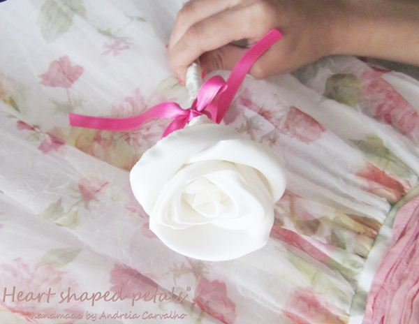 Wedding fabric roses in white