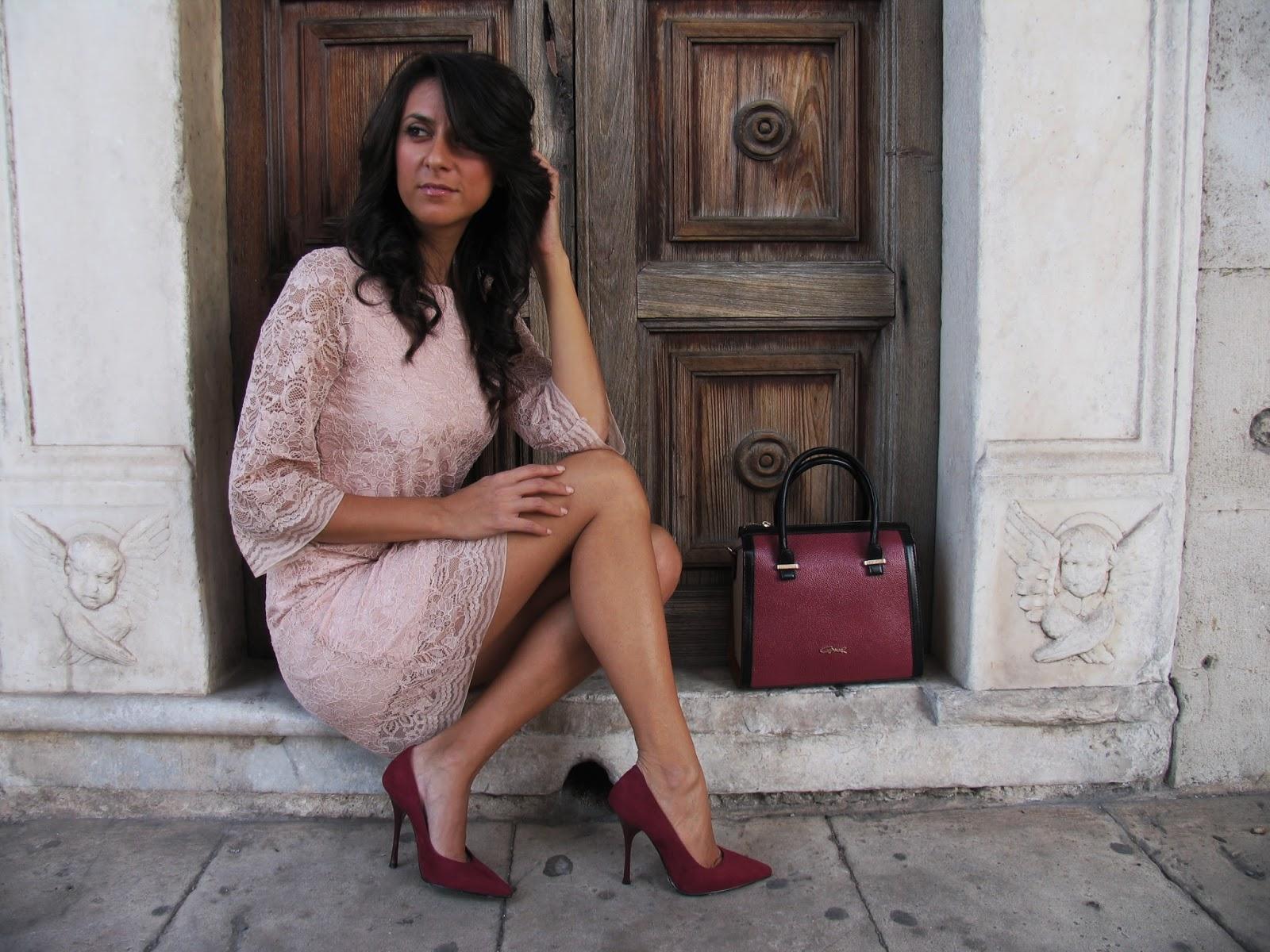dress, sicily, pink, lace