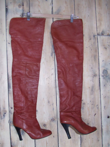 ebay leather vintage rust leather thigh high boots from