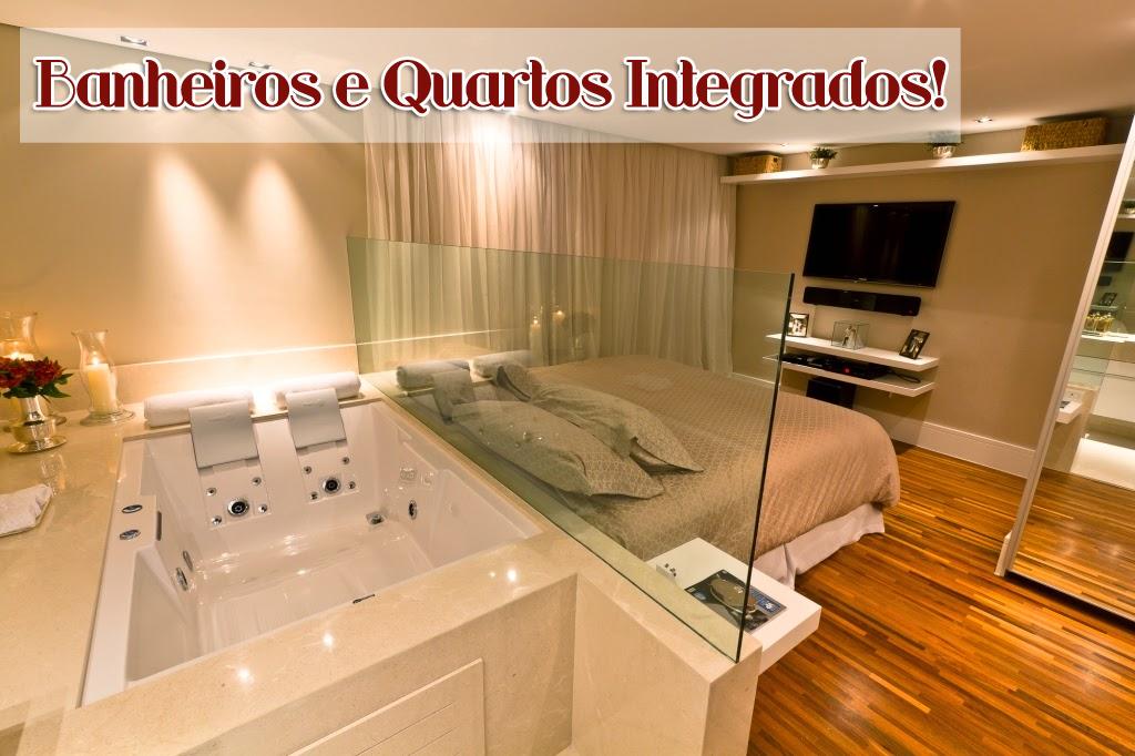 Banheiro Integrado ao Quarto! Veja modelos e dicas!  Decor Salteado  Blog d # Quarto Com Banheiro Pequeno Integrado