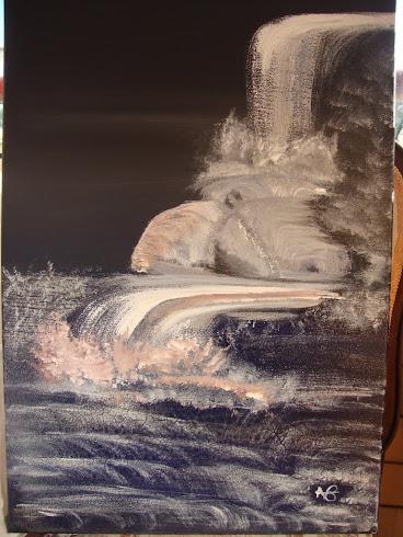 quadro cascata em acrilico