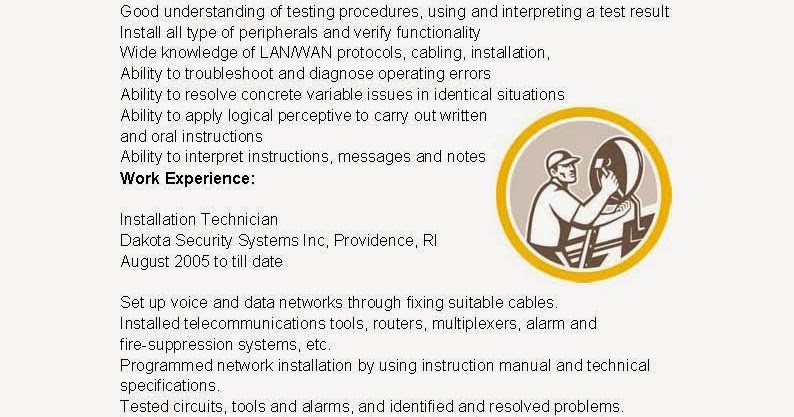Installation technician resume