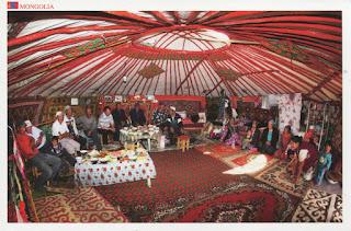 postcard, mongolia, ger, yurt, family