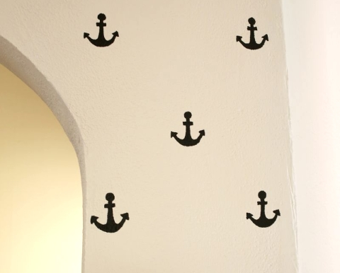 wall stencil design with anchor motif