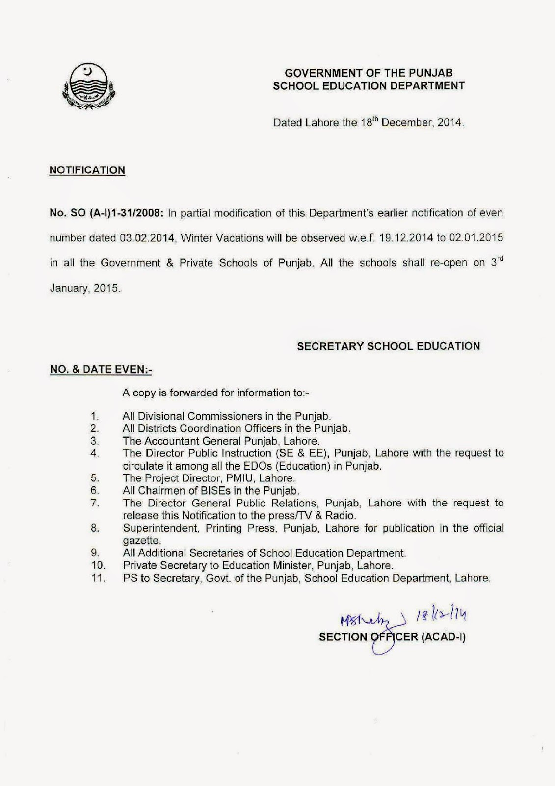 Notification Winter Vacation Schools Punjab 2014, NOTIFICATION 2014 Winter Holydays Punjab Schools Government