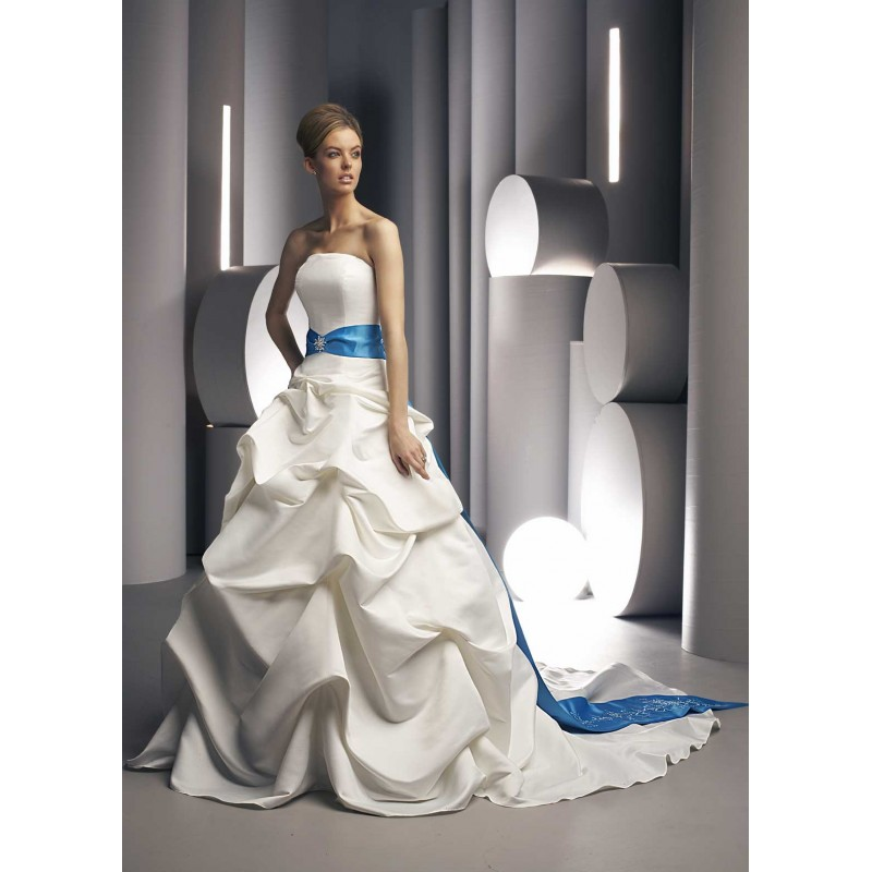 royal blue and white wedding gowns