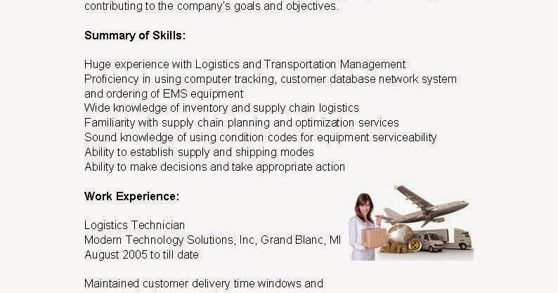 Resume Samples: Logistics Technician Resume Sample