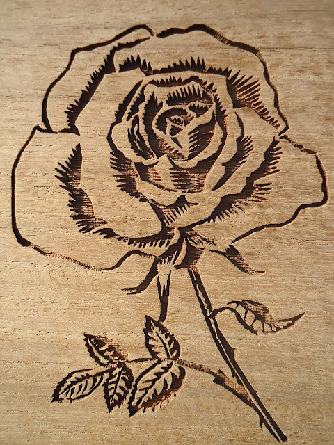 Rose - laser engraving for Benches.co.uk