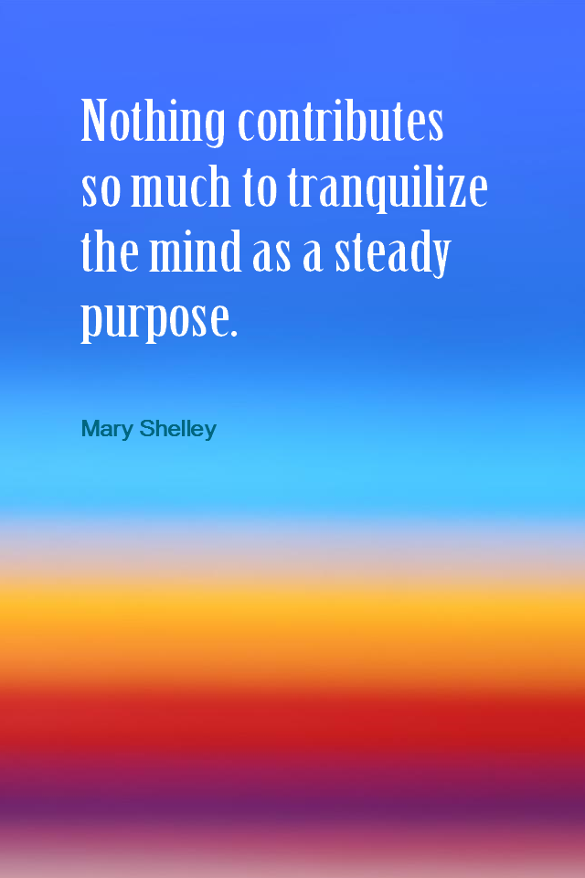visual quote - image quotation for Purpose - Nothing contributes so much to tranquilize the mind as a steady purpose. - Mary Shelley