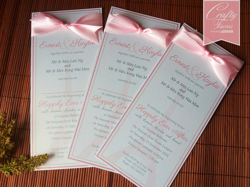 Paris Eiffel Tower Flat Wedding Card with Ribbon The Saujana Hotel Kuala Lumpur