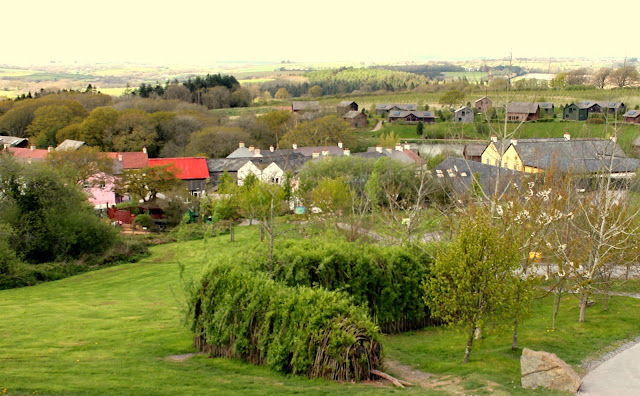 View at Bluestone Wales including snake made from twig arch