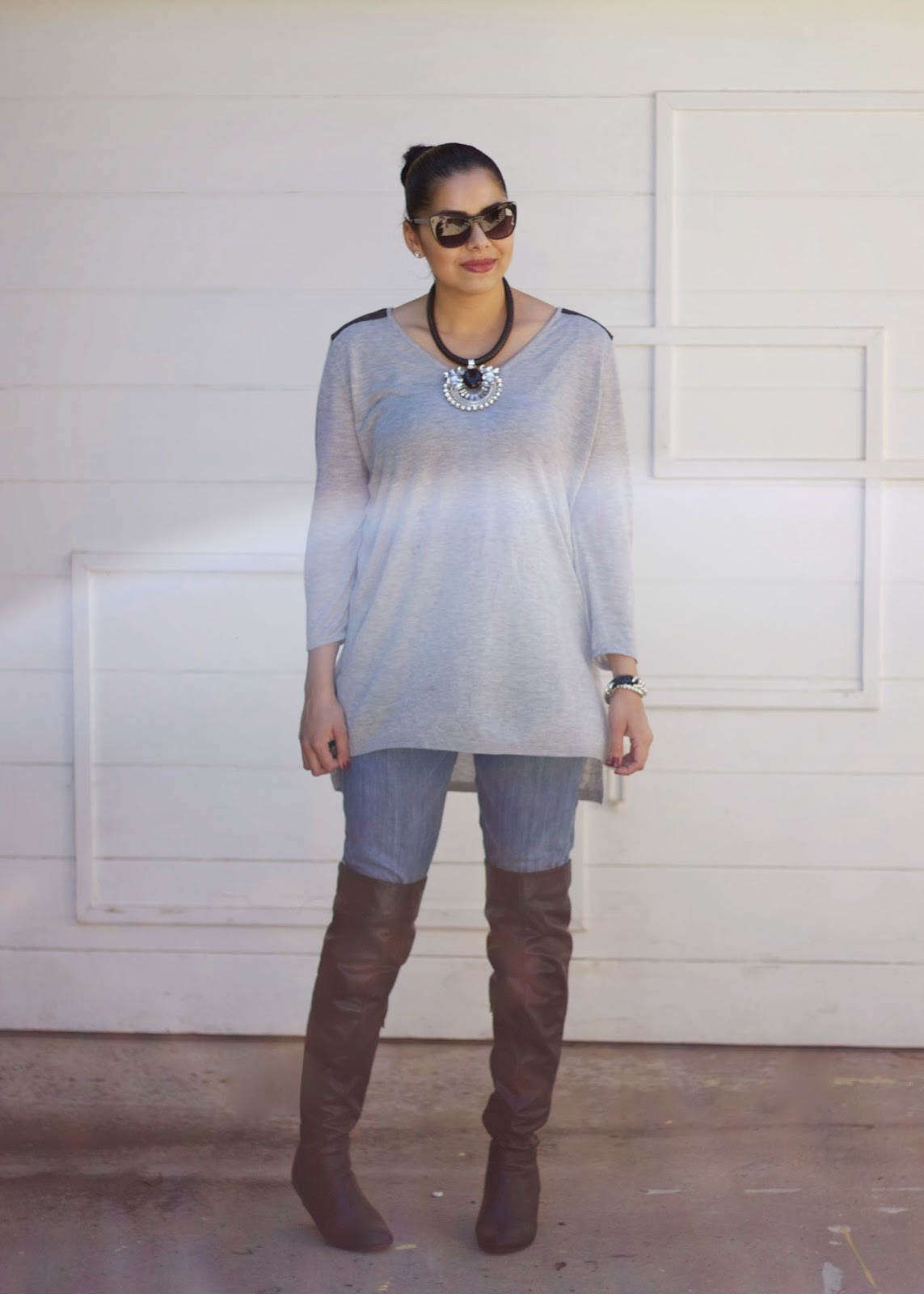 How to wear Boots and Jeans, Boots for Fall 2014, Edgy Casual Fall Outfit 2014, H&M gray shirt, how to wear red plaid, f21 blogger, Hudson jeans, f21 black cateye sunnies, san diego fashion blogger, how to wear grey for Fall, how to wear gray in winter