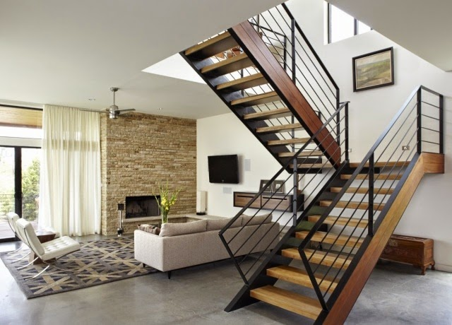 Modern Stair Railing Designs: Half Turn Staircase Design With Railing
