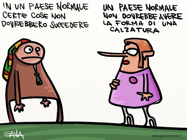 Gava gavavenezia satira vignette caricature ridere pensare rasta paese stivale scarpa normale crisi