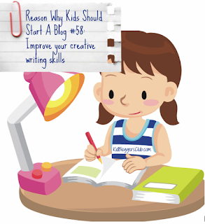 the reason why kids should start a blog #58 Improve your creative writing skills with child cartoon character at desk writing