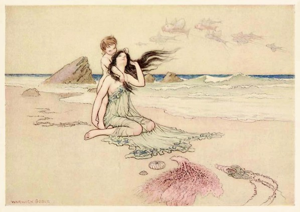 "Warwick Goble, ""Play by me, bathe in me, mother and son"""