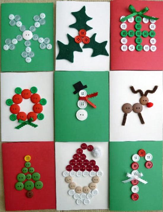 Navidad con botones de tin marin talleres infantiles - Tarjetas de navidad manuales ...