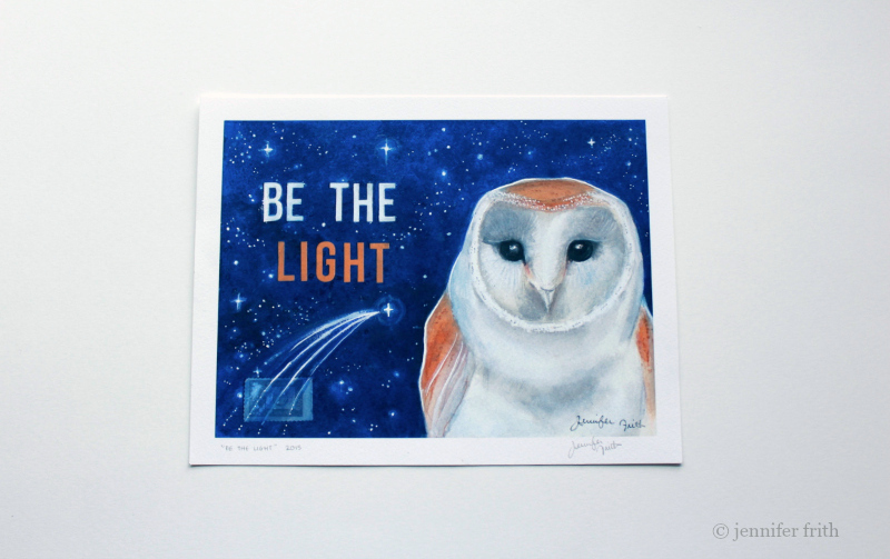 watercolor Barn Owl print by Jennifer Frith, available on Etsy