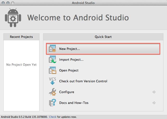 ایجاد پروژه در Android Studio