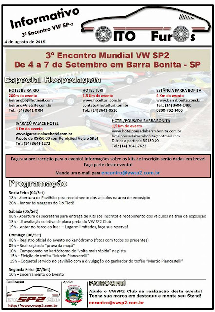 3º Encontro Mundial de SP2 em Barra Bonita - Informativo