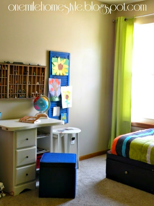 Tan and green kids room - desk and lego storage