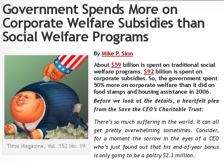 corporate welfare social welfare graphic