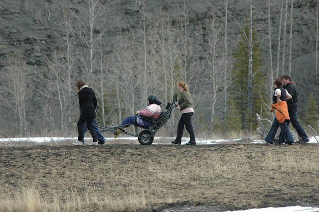people walking in the outdoors using a trail rider
