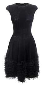 2014 Tonal Lace Knit Ruffle Dress