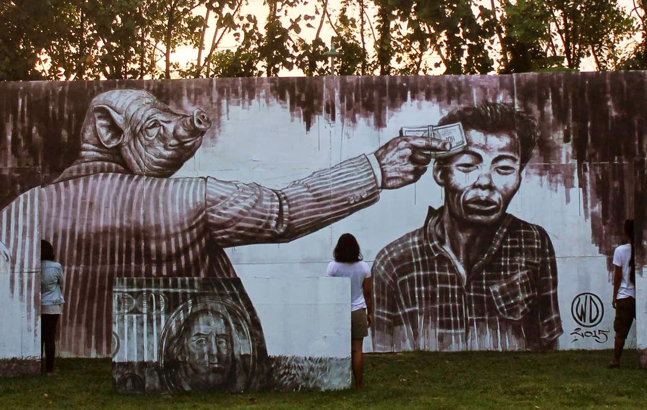 wd paints money kills a new mural in bali indonesia. Black Bedroom Furniture Sets. Home Design Ideas
