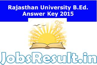 Rajasthan University B.Ed. Answer Key 2015