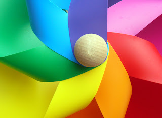 multi-coloured pinwheel of intentions