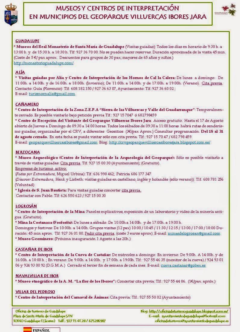 VISITA LOS MUSEOS Y CENTROS DE INTERPRETACIÓN DE GUADALUPE Y SU ENTORNO