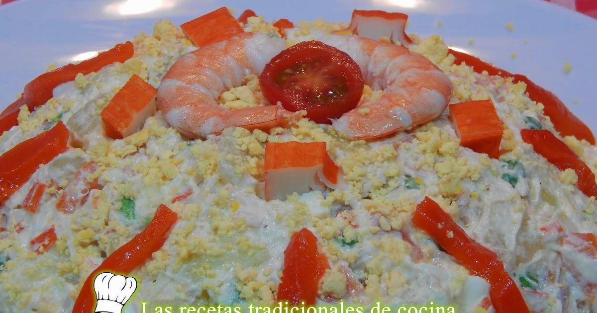 Receta f cil de ensaladilla rusa con marisco recetas de for Cocinar ensaladilla rusa