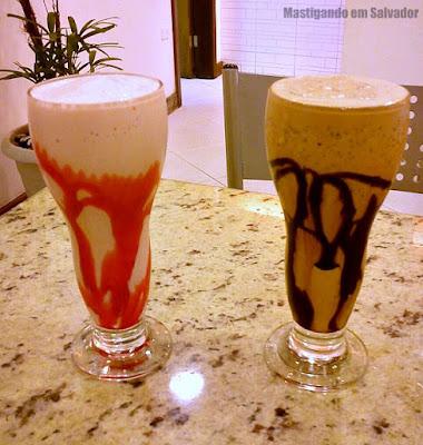 Maná Pizzas e Sobremesas: Milk-Shakes de Iogurte de Morango e de Alfajor