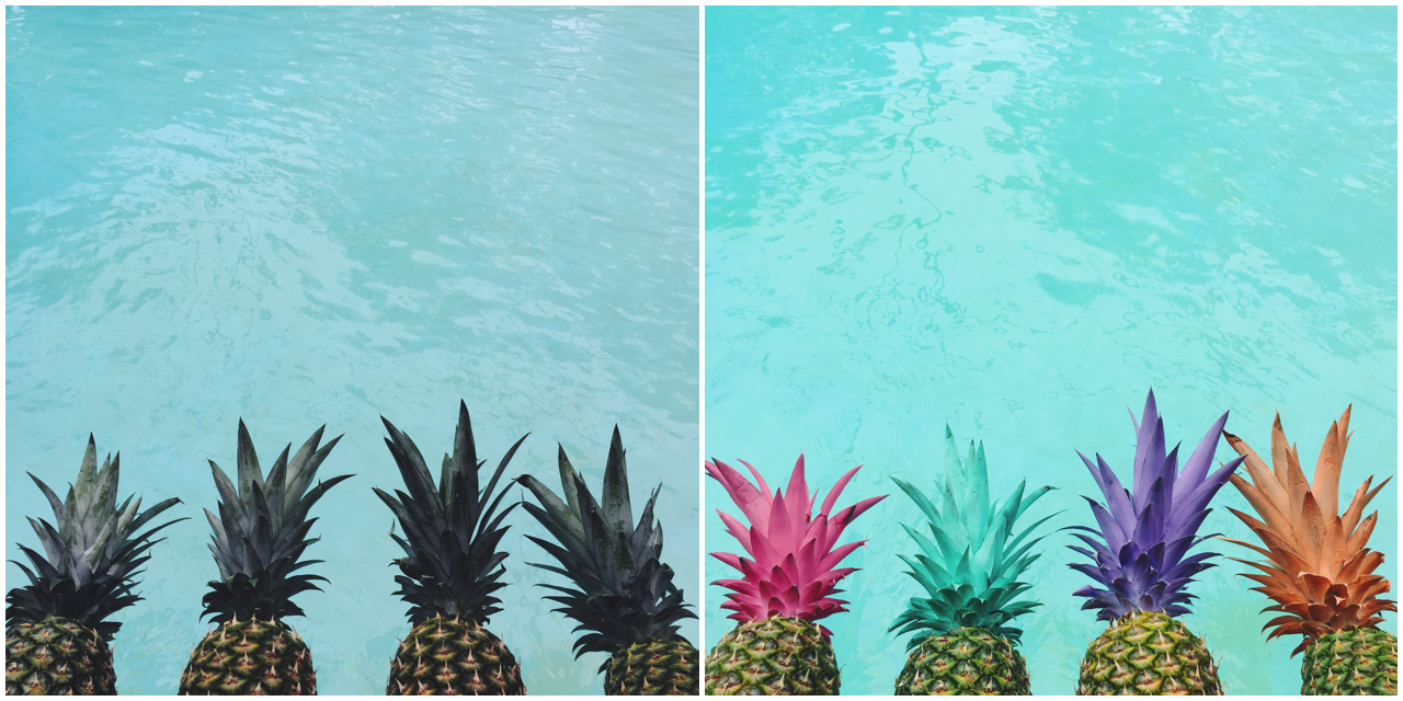 Painted pineapple idea for a tropical party look.