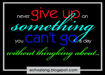 Never give up on something you can't go a day without thinking of.