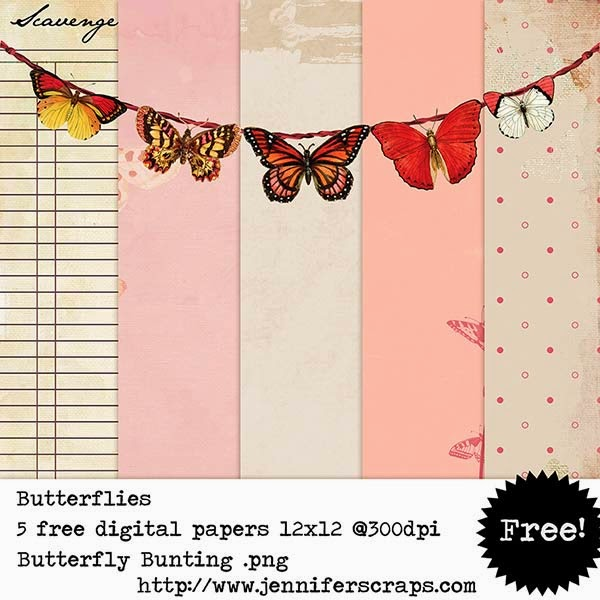butterfly, bunting, digital papers, free digital scraps, free digiscrap, digiscrap freebies