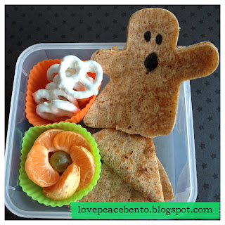 Halloween Bento Lunch with Ghost Shaped Tortilla