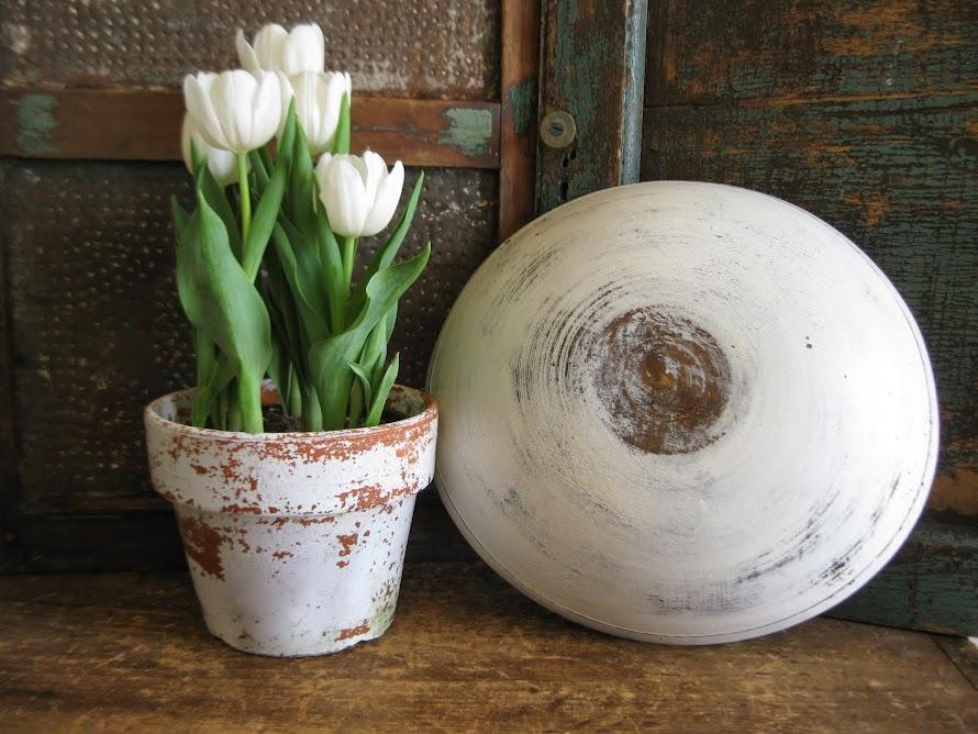 White Milk Paint Dough Bowl