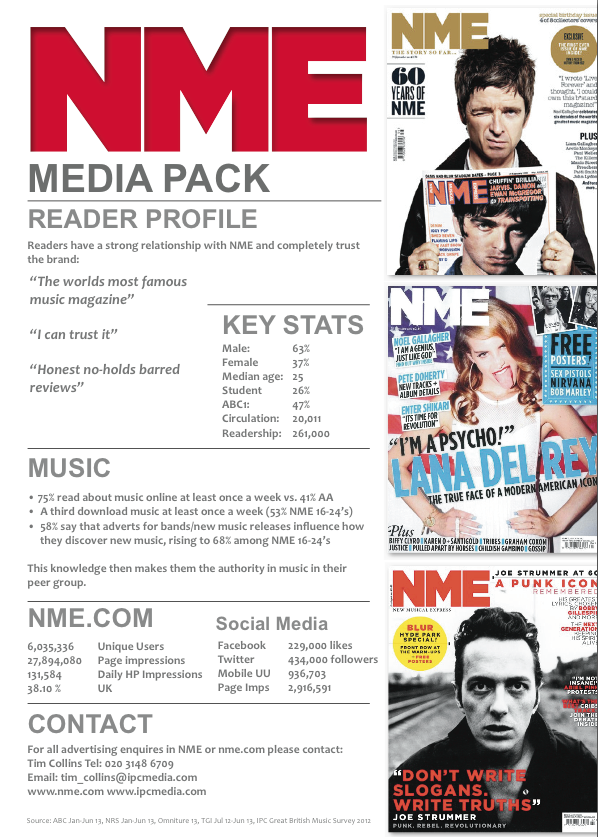 Rate Cards For Magazines Rate Card For Nme Magazine