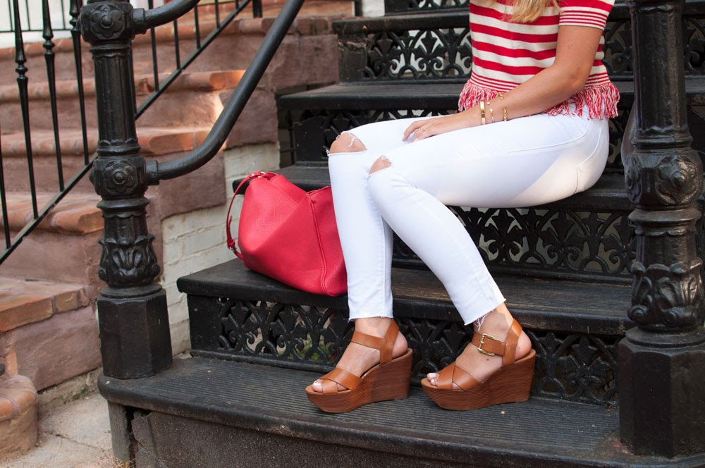 red and white stripes, striped shirt, fringe shirt, topshop shirt, white denim, white jeans, high waisted jeans, jeans with holes, nordstrom, fashion blogger, style blog, dc blog, stella & dot, fall, collection, jewelry