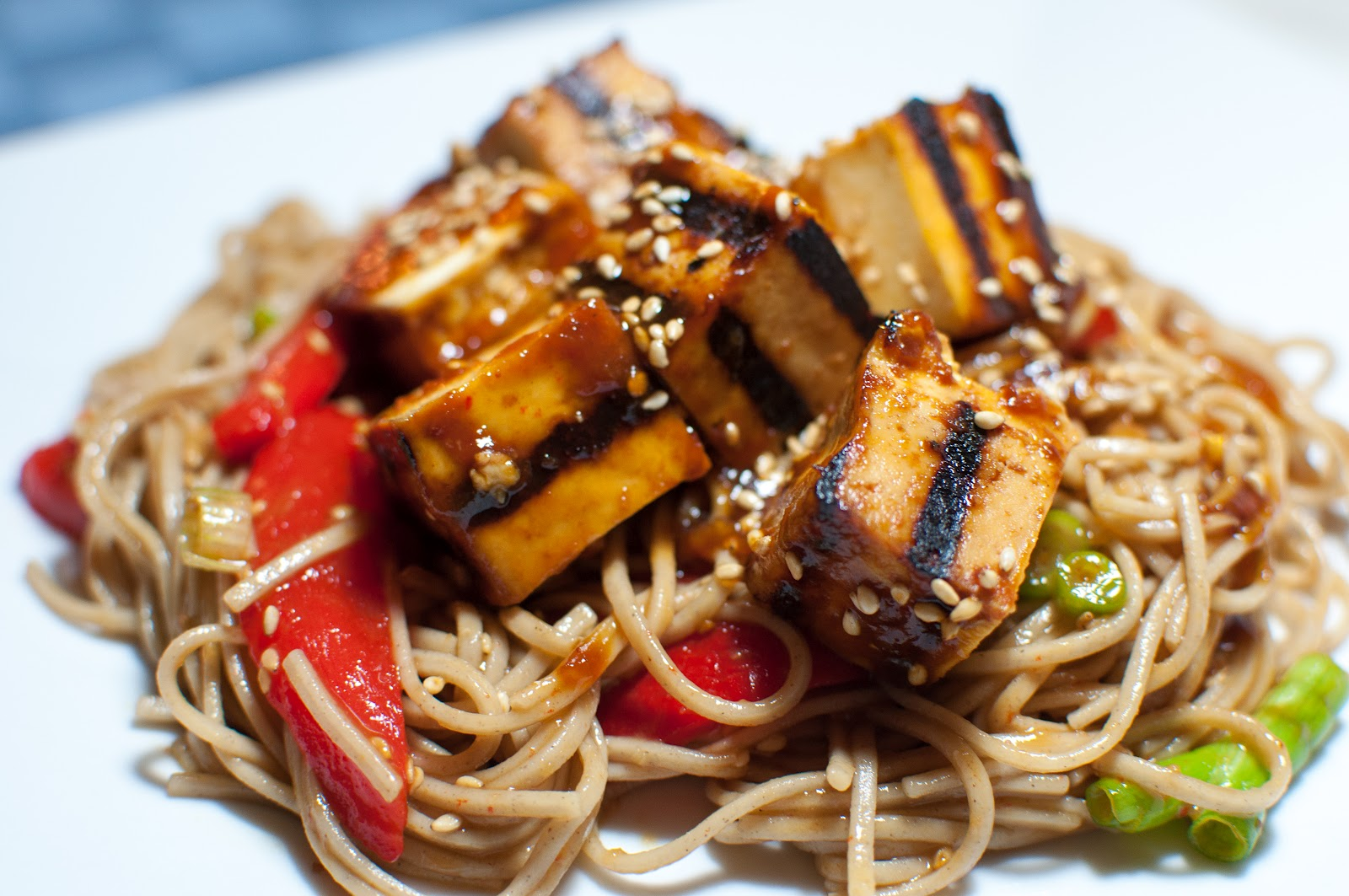 not quite gourmet: Soba Noodle Salad with Grilled Tofu and Roasted ...