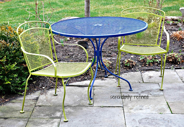 Spray painted brightly colored Wrought Iron Patio furniture makeover